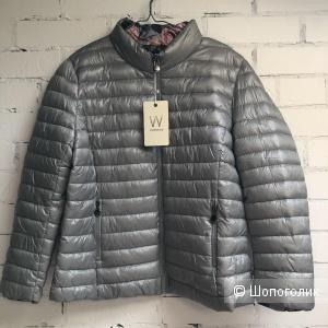 Куртка -пуховик двусторонняя plus size GRIGIO CON FIORI ROSA, 46-56