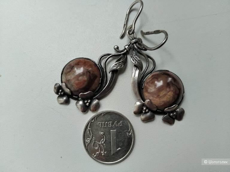 Серьги серебро 925 яшма