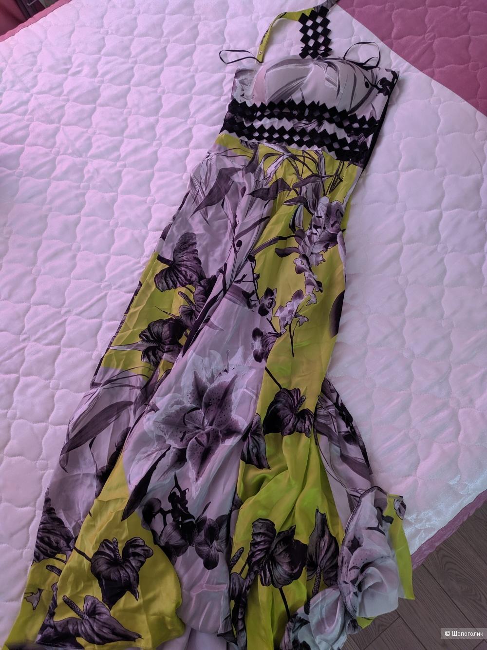 Длинное шёлковое платье Maestri Haute Couture, 8 UK на 40-42 рус.