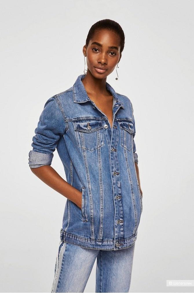 Джинсовая удлиненная куртка mango, оверсайз, размер росс. 42, 44, 46