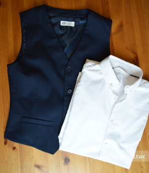 Сет из рубашки и жилетки H&M, размер 158 см (12-13 лет)