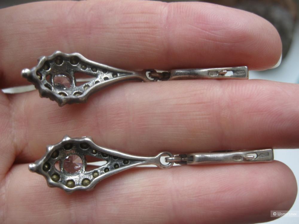 Винтажные серебряные серьги с фианитами