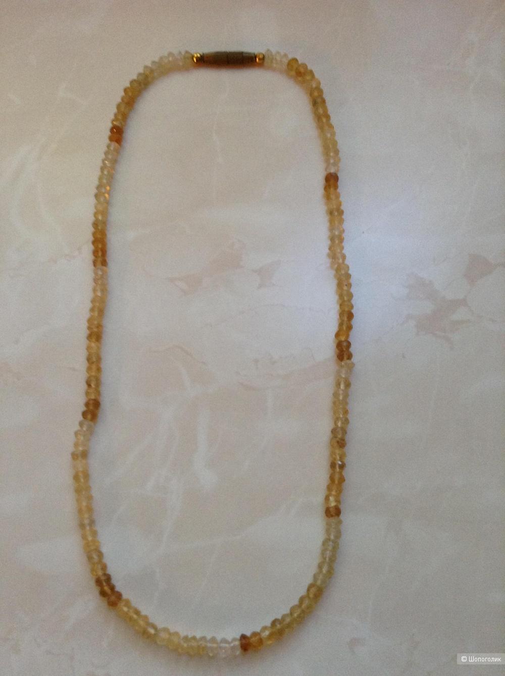 Ожерелье из натурального цитрина, 44 см