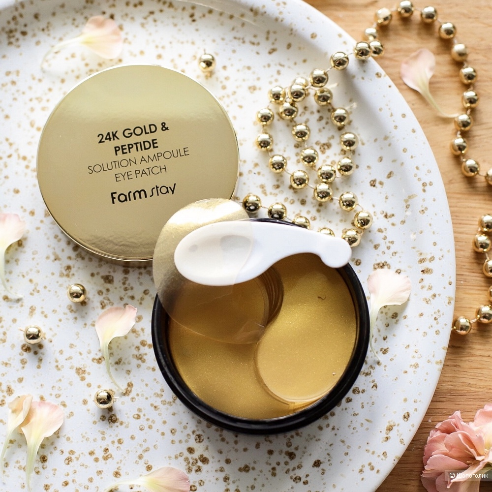 Патчи для век с золотом и пептидами FarmStay 24K Gold & Peptide Perfect Ampoule Eye Patch