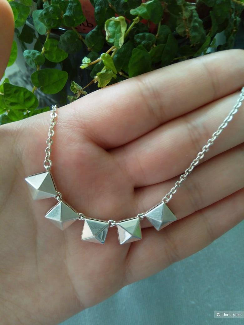 Колье серебро 40см, дизайнерское.