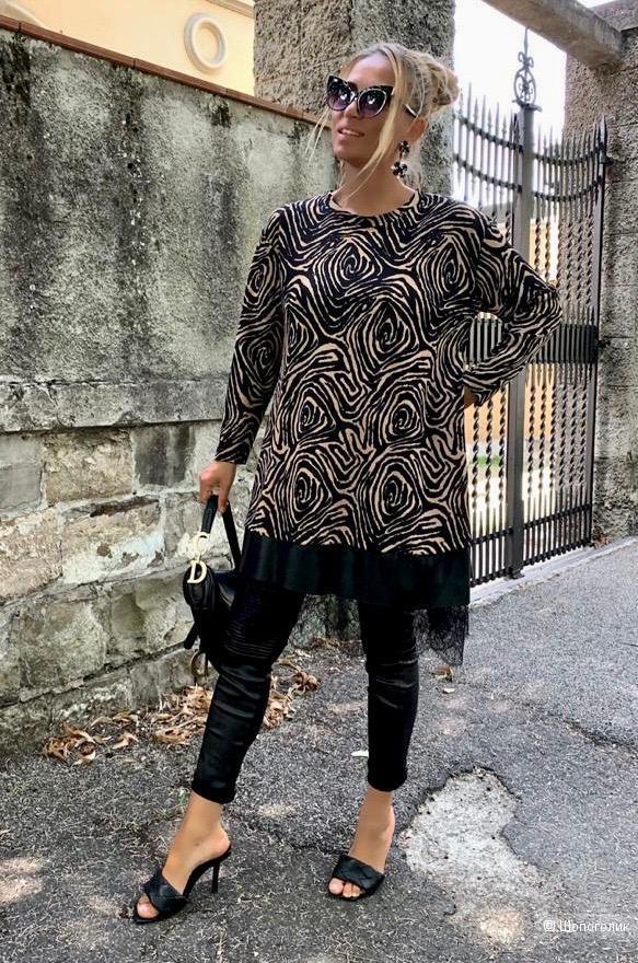 Платье туника с эко кожей New collection, 44-50