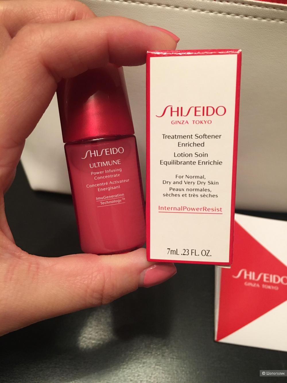 Сет : софтнер и молочко Shiseido, 7ml и 10 ml