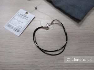 Браслет из серебра 925 и каучука Zolotye Uzory. Р-р: 18,5.