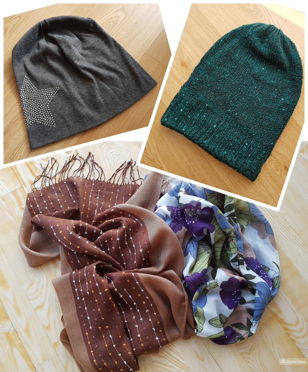 Сет 2 шапки + 2 шарфа, one size