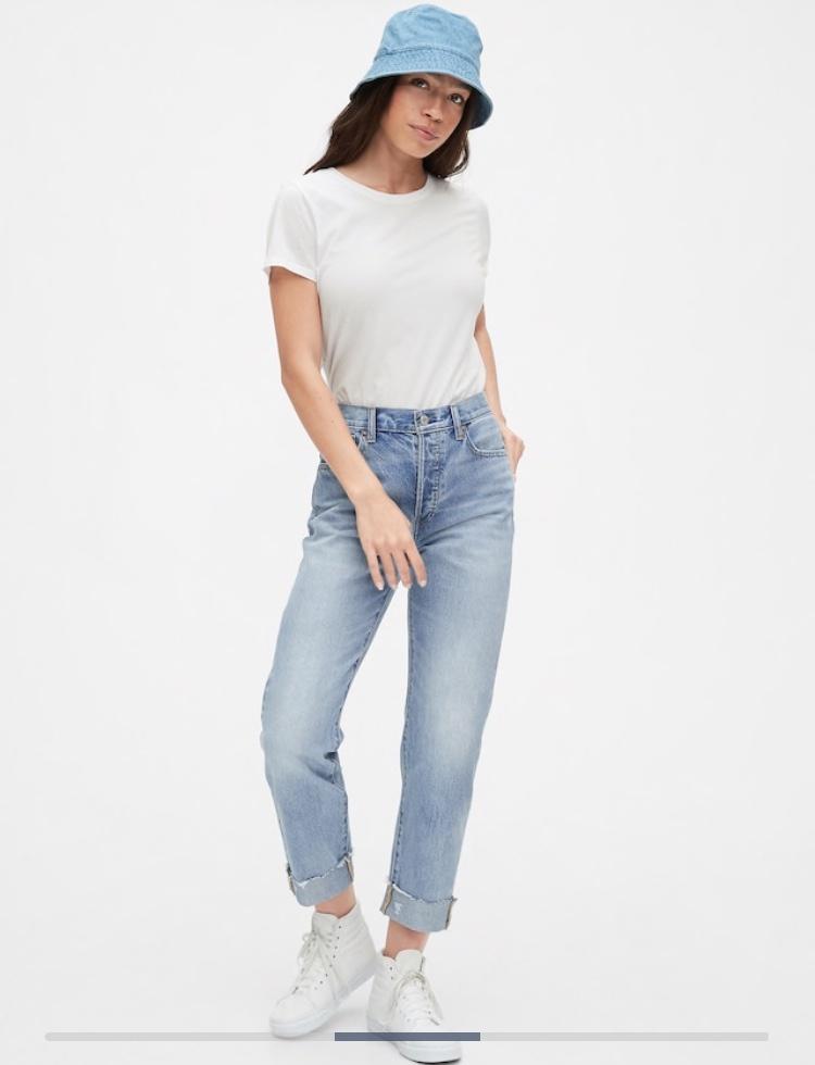 Черные джинсы-бойфренды со средней посадкой GAP, 26