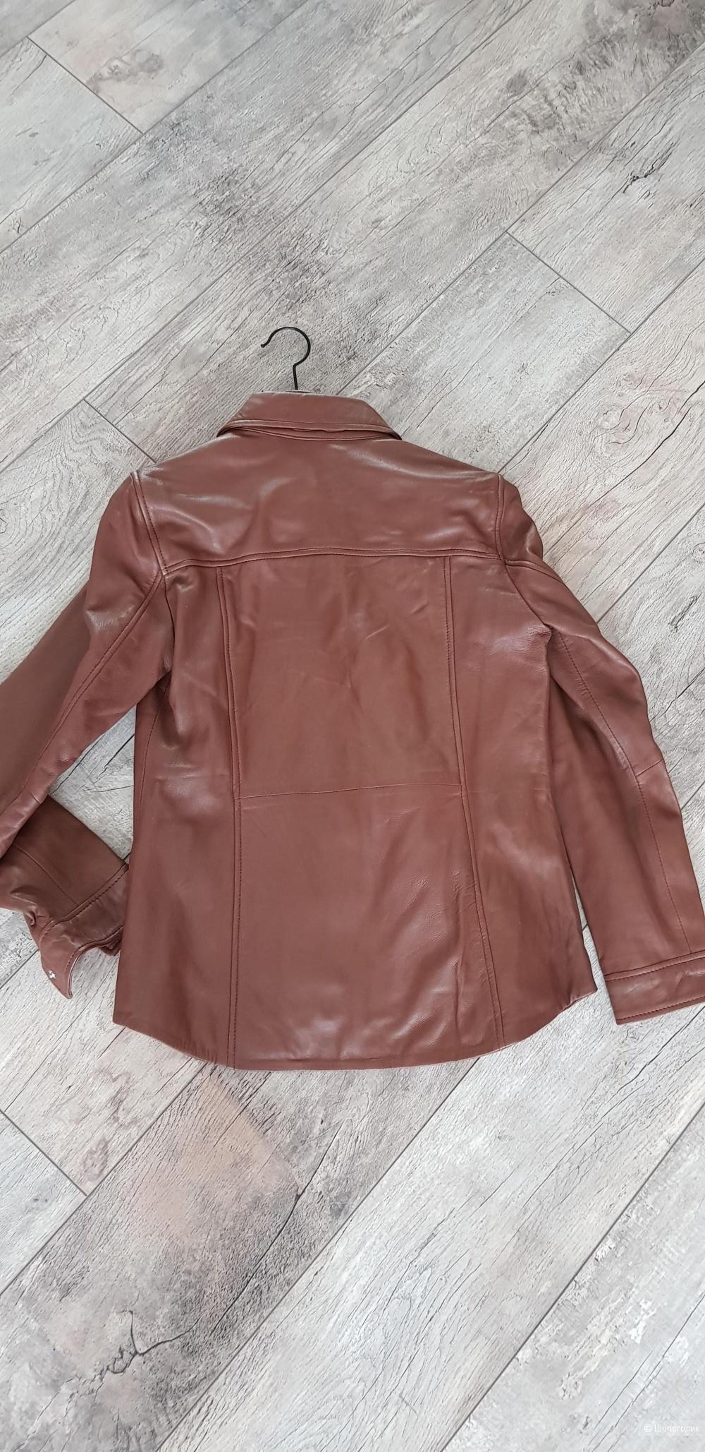 Кожаная куртка-рубашка Mango, р. М