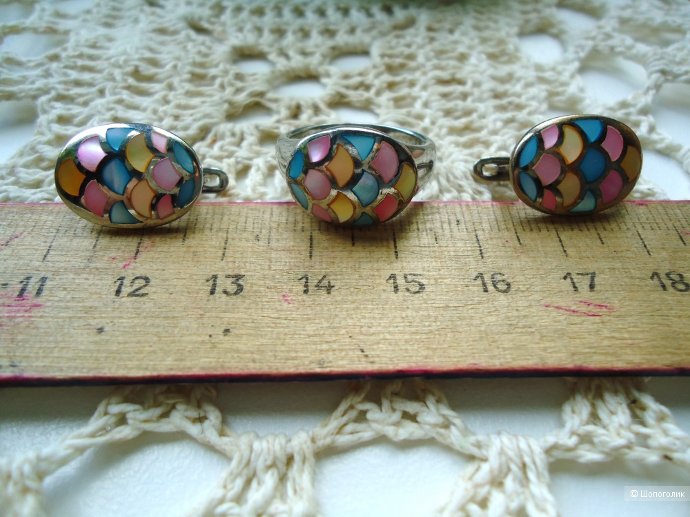 Серебряные серьги и кольцо (комплект)