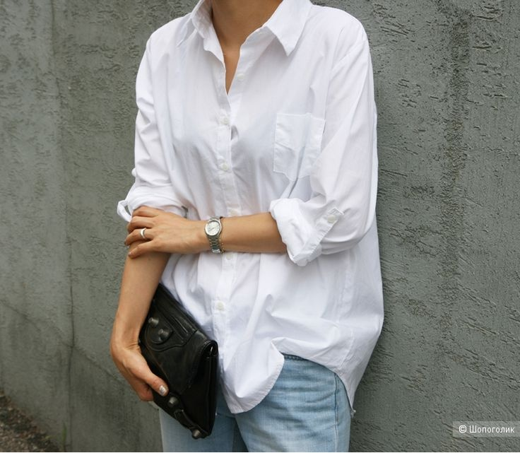 Белая рубашка h&m, размер l