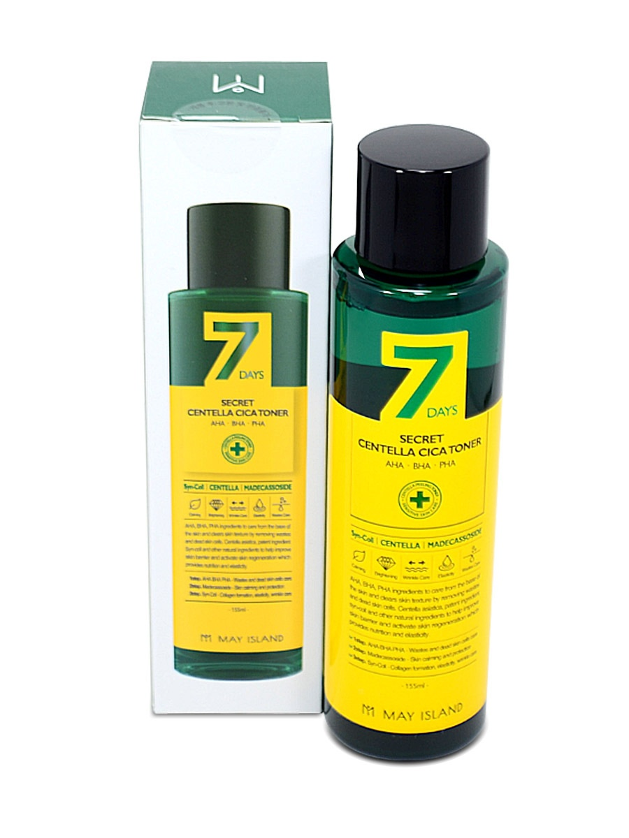 Обновляющий тонер для проблемной кожи May Island 7 Days Secret Centella Cica Toner AHA/BHA/PHA. В профиле большой выбор корейской оригинальной косметики
