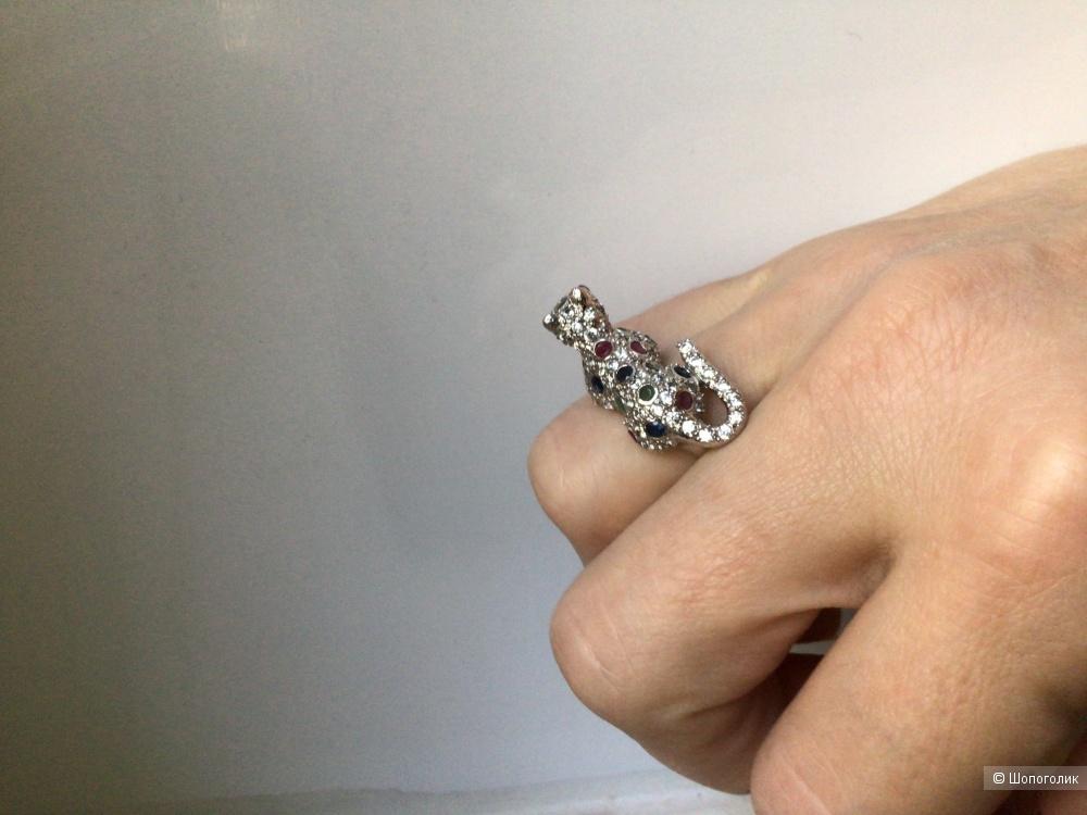 Серебряное кольцо с натуральными изумрудами, рубинами, сапфирами, 17-17,25 размер