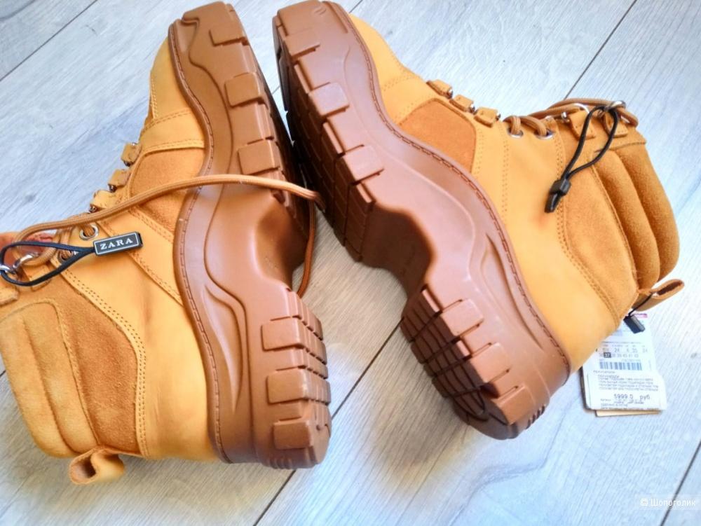 Ботинки  ZARA CAMEL нат кожа, размер 37-37.5