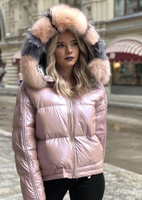 Куртка пуховик Blush/Black silver  fur, 44-50