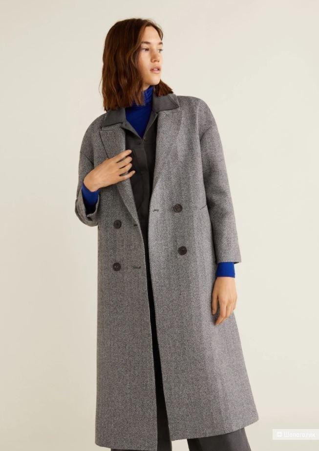 Шерстяное пальто манго, размер S