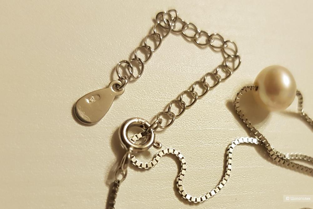 Серебряное шейное украшение с жемчугом Sunlight