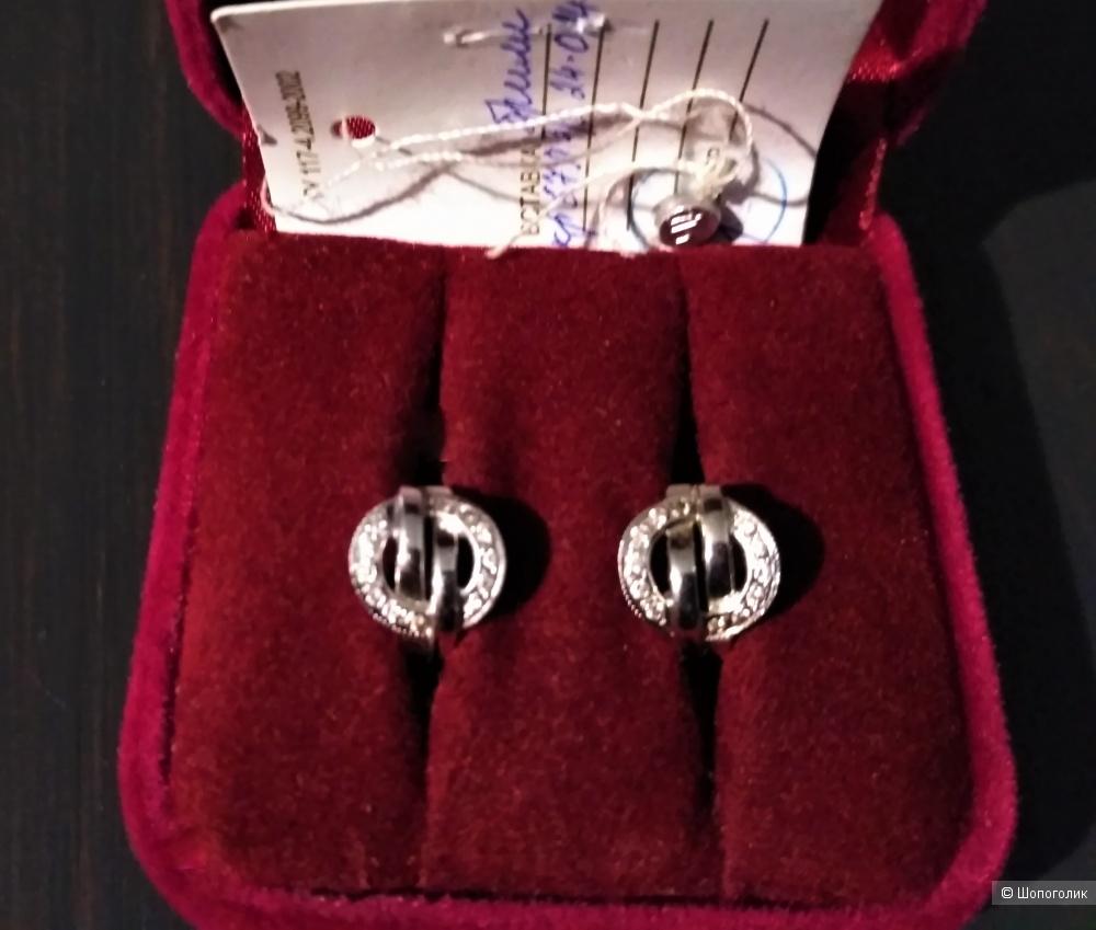 Серьги, белое золото, бриллианты