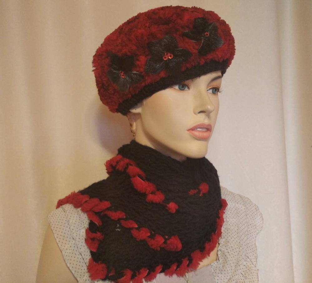 Комплект Русский мех: берет и шарф, one size