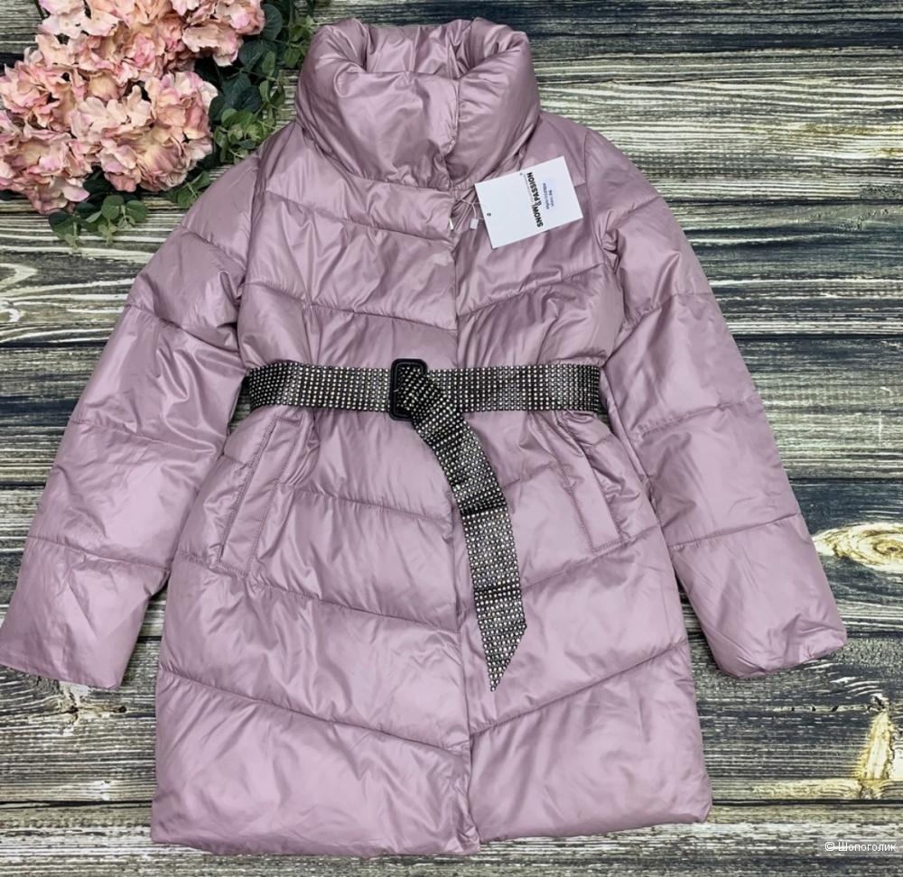 Пуховик пальто пояс стразы SNOW PASSION, 42-46