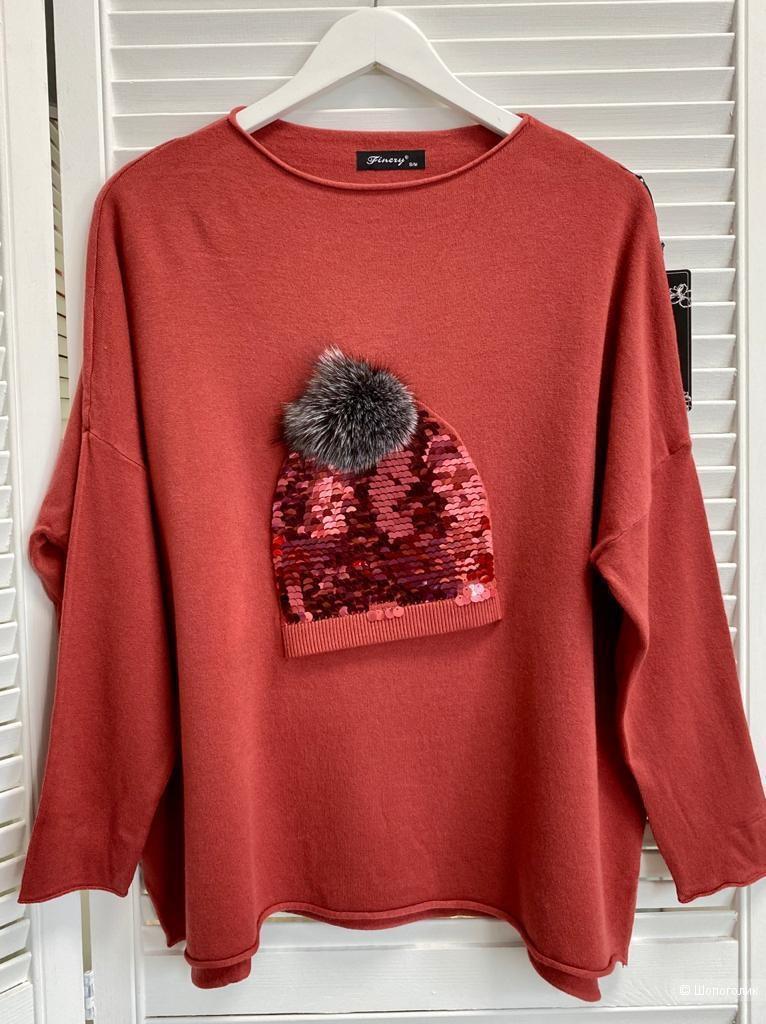 Джемпер свитер шапка с мехом пайетки FINERY ITALY, 46-54