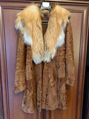 Шуба пальто из каракульчи с лисой avanti furs 42-44