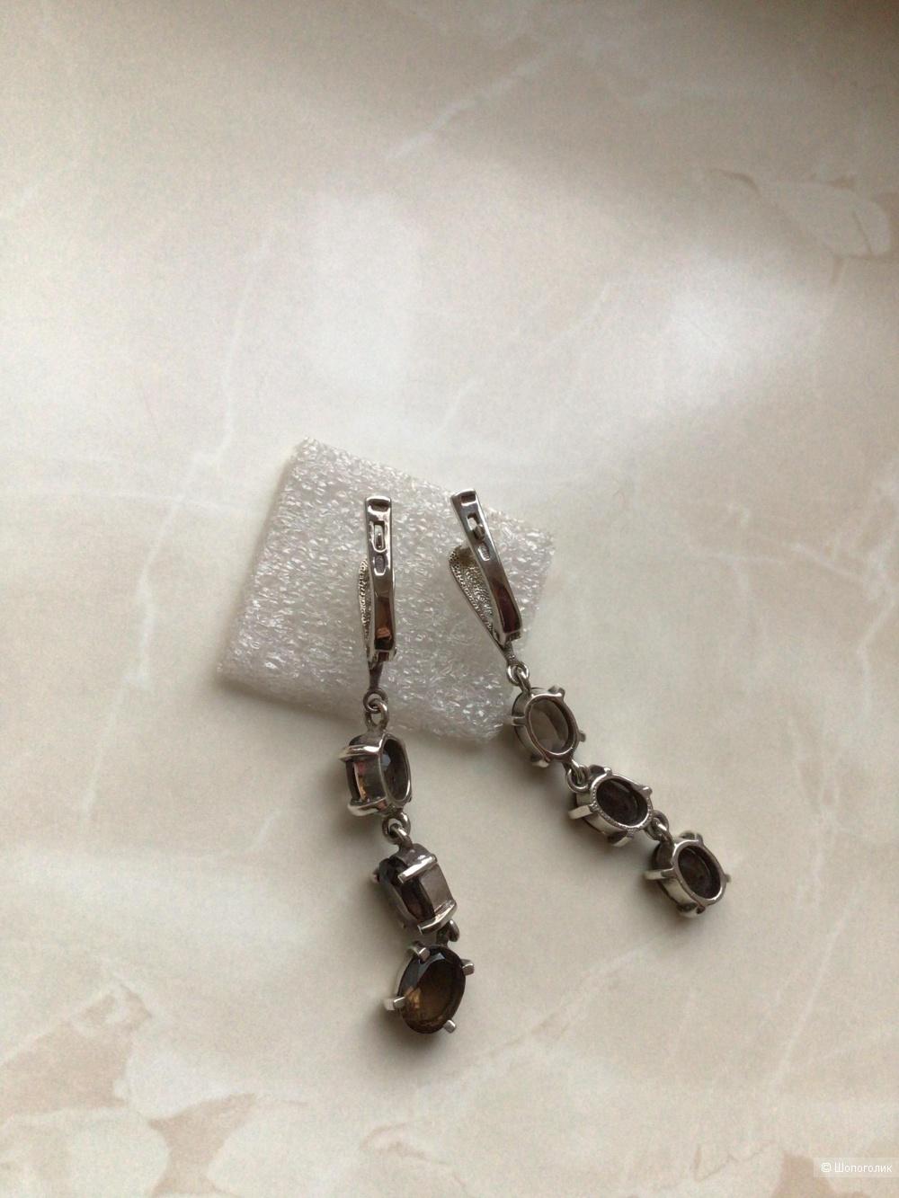 Серебряные серьги с натуральными раухтопазами