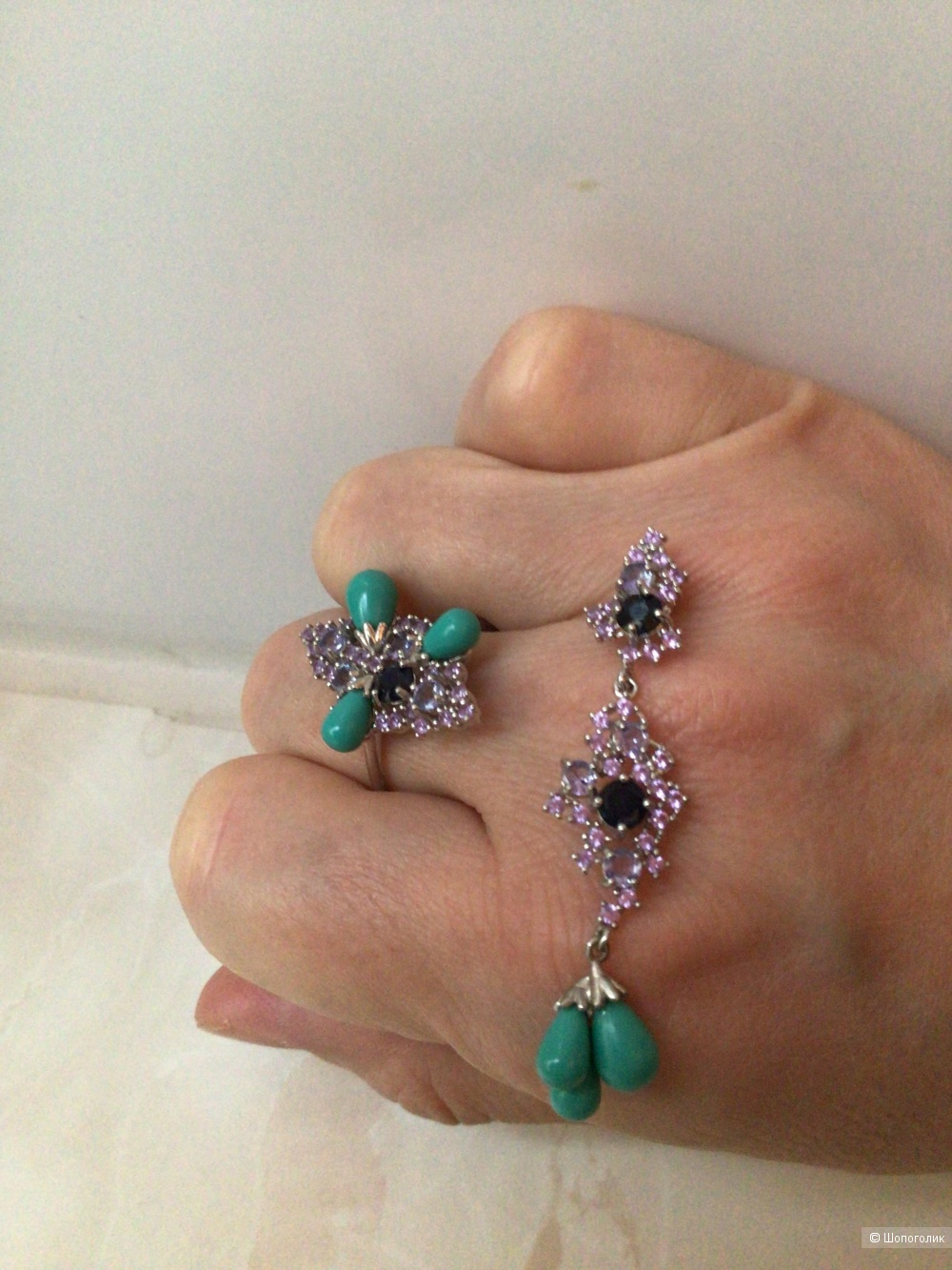 Набор из кольца и кулона с натуральными камнями