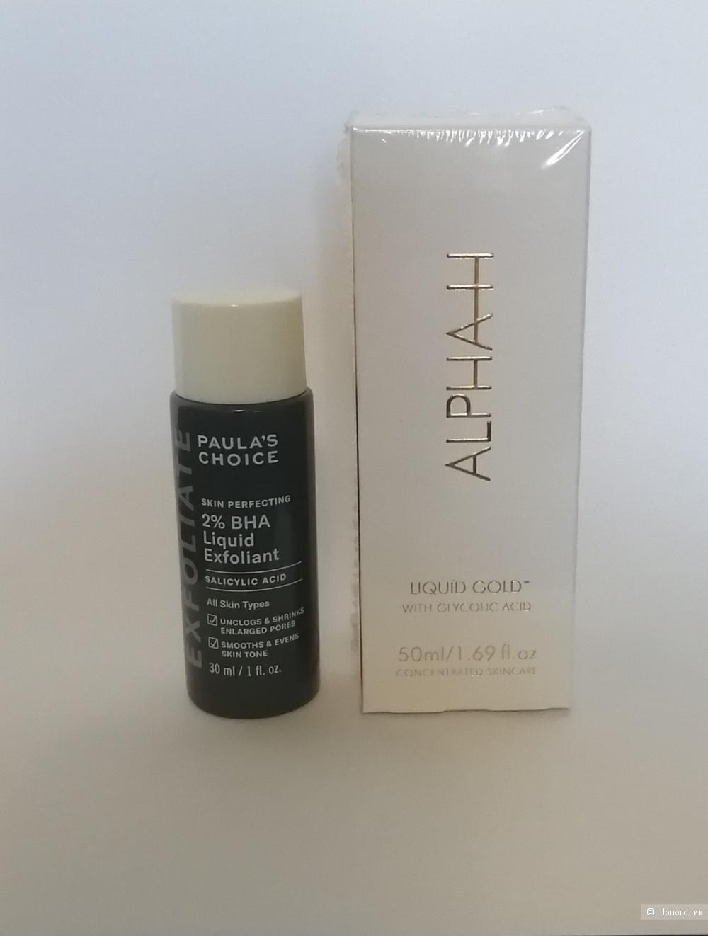 Средства для лица с кислотами Alpha H Liquid Gold и Paulas choice