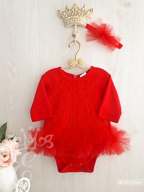 """Платье-боди с ободком, """"Ее малышество"""", размер 68"""