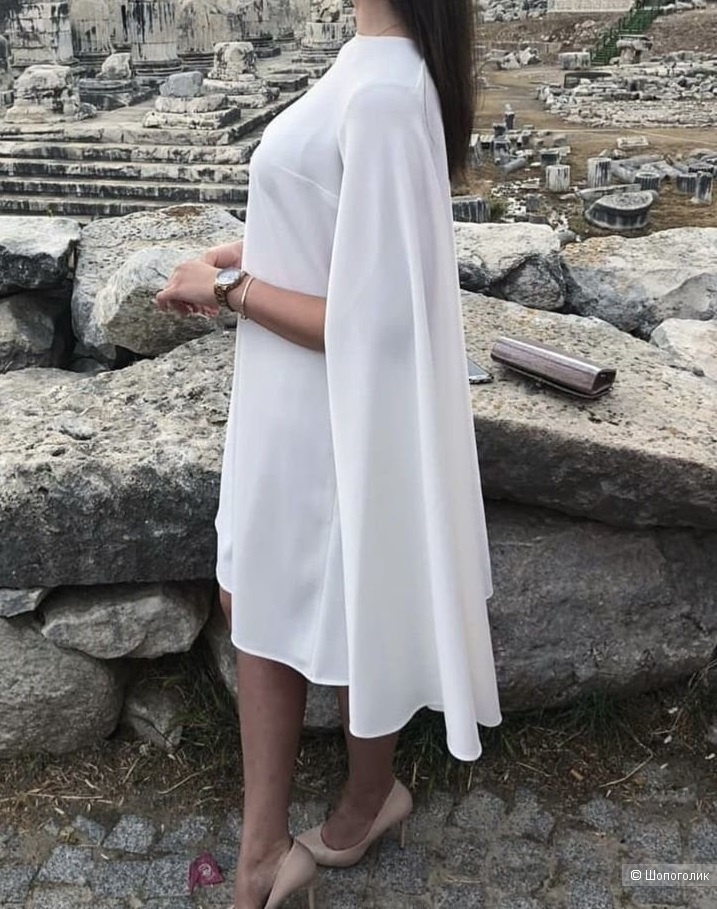 Платье-кейп белое р 44-46