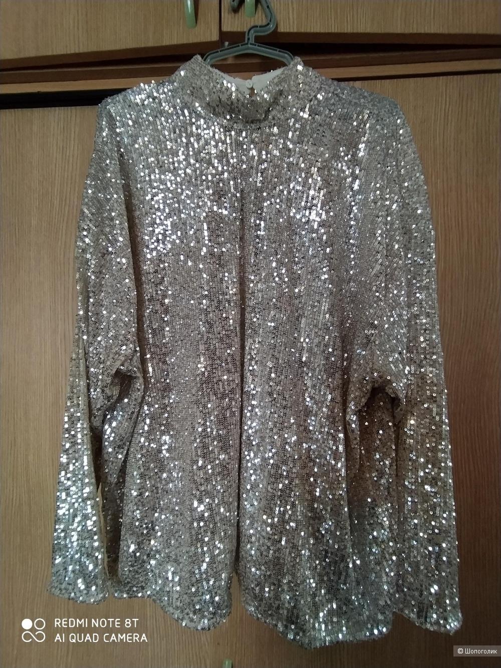 Блузка с пайетками  H&M   цвет - золото,  размер L/XL