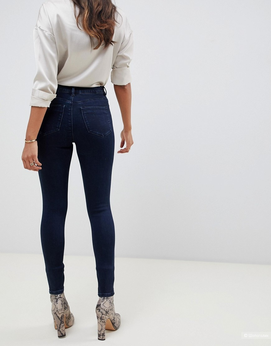 Темно-синие джинсы скинни ASOS DESIGN ridley, W25 L32