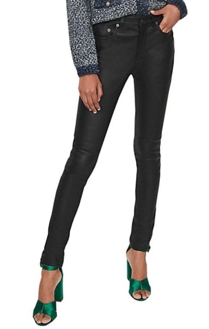 Чёрные джинсы с кожей от Maje XS