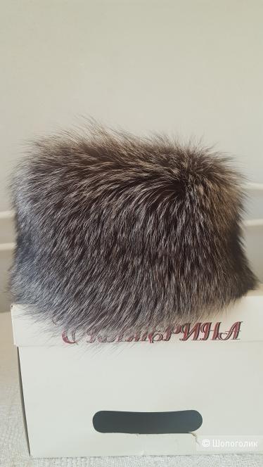 Шапка кубанка из лисы серебристо-чёрной, размер 58-59