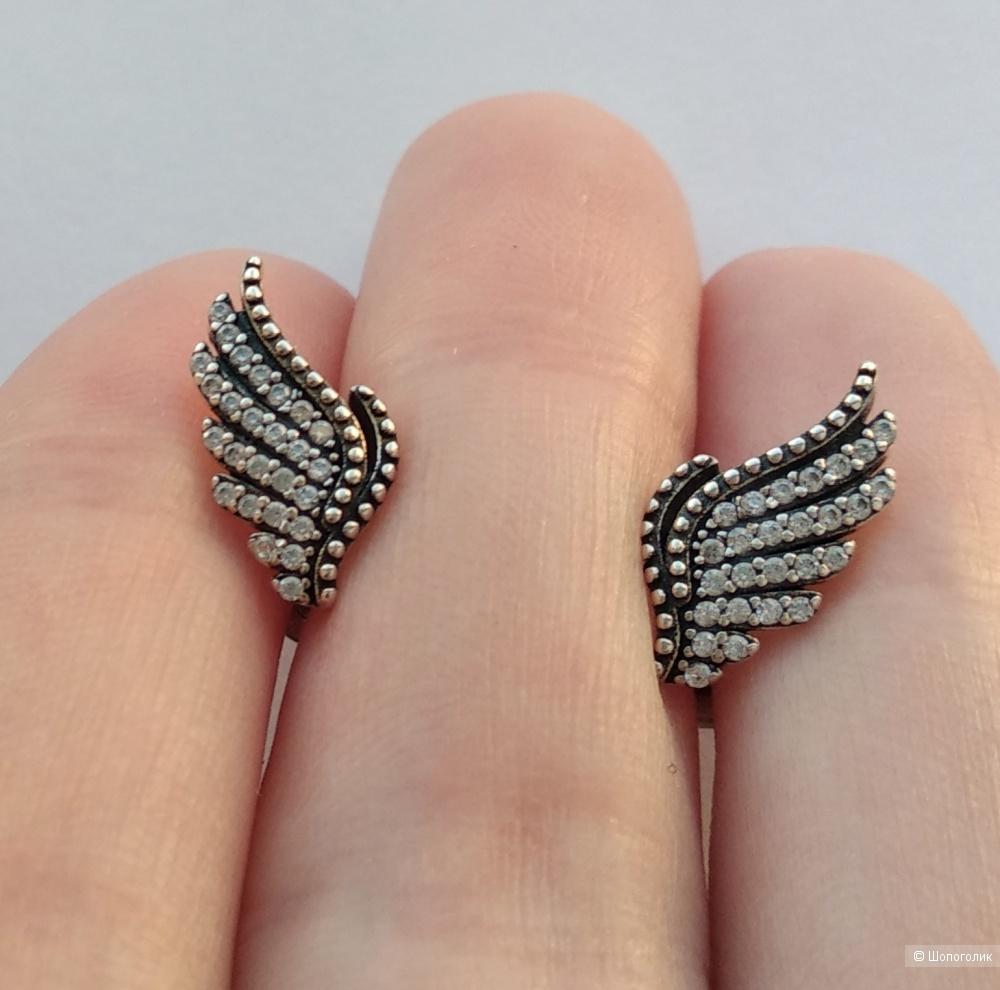 """Серьги-пусеты """"Волшебные перья"""", Pandora, серебро 925, цирконы"""