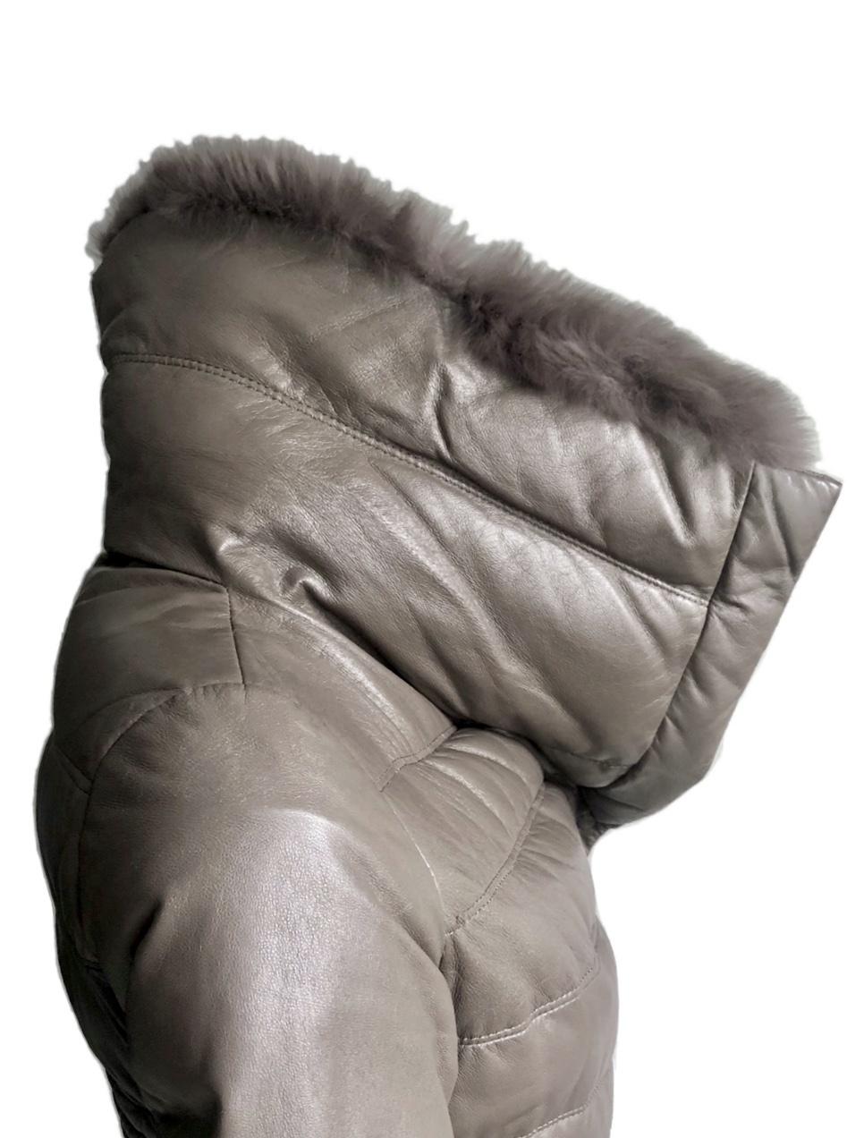 Кожаный пуховик пальто Milanmisi размер М