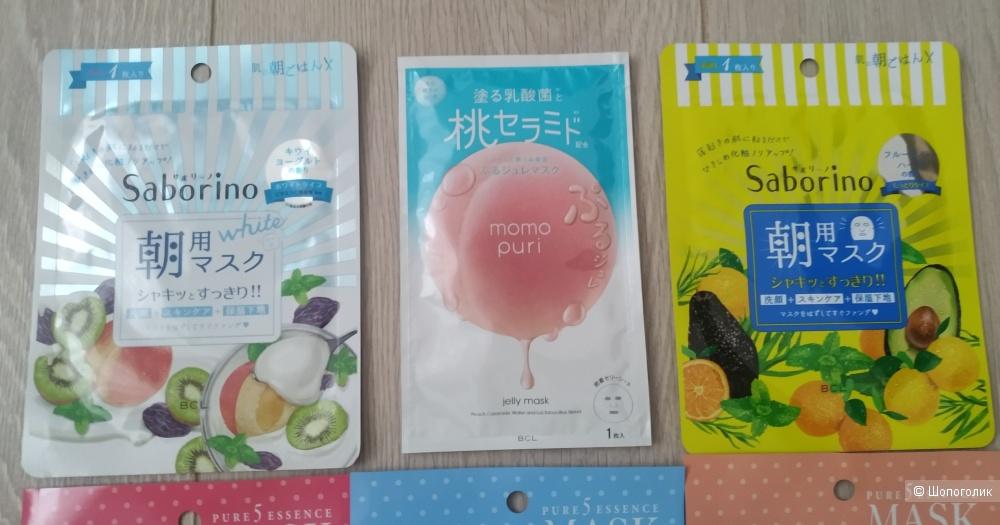 Набор японских тканевых масок для лица (Japan Gals, Saborino, Momo Puri)