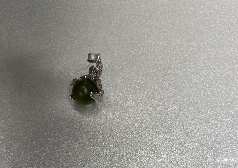 Подвеска-лягушка с янтарем Санлайт