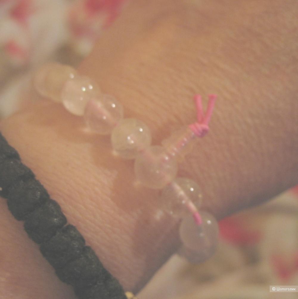 Чётки-браслет из розового кварца.