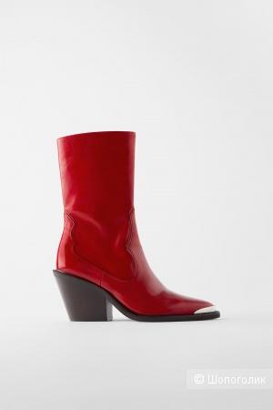 Красные кожаные казаки Zara, pp 36, 23,4 см