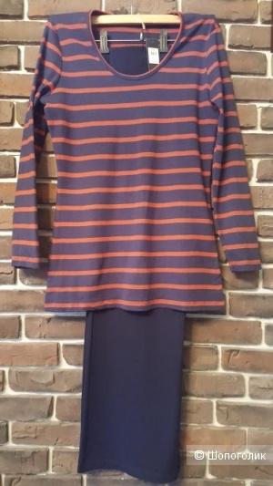 Сет брюки палаццо MARKS & SPENCER , лонгслив - тельняшка M&Co .размер 48-50