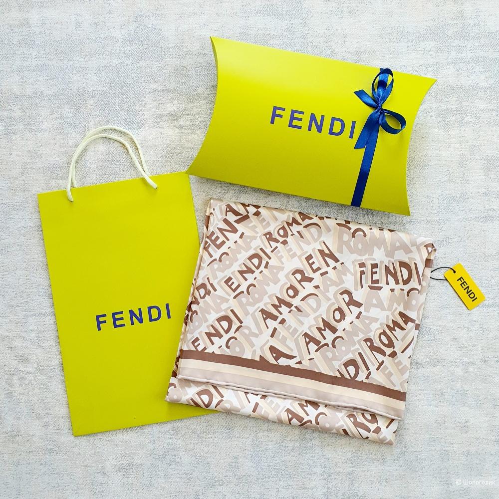 Платок Fendi шелк (бежевый, принт буквенный)