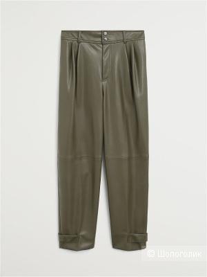 Кожаные брюки(слоучи) с завышенной талией, Relaxed-fit, mango, размер М