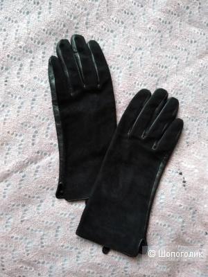 Перчатки из замши и кожи Ranna Isms. Размер: 6 (не маломерят!).