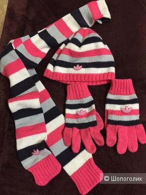 Комплект шапка, шарф, перчатки Adidas, one size