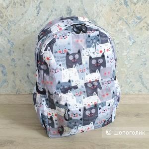 Рюкзак женский\детский (серо-голубой, принт кошки)