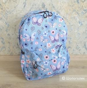 Рюкзак женский\детский (голубой, принт бабочки)